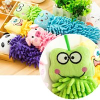 Wholesale pieces Sling Design Cartoon Cleaning Towel Chenille Fabric Microfiber Lovely Animal Hand Towels For Kitchen Bathroom
