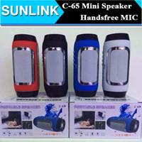2 For Mobile Phone MP3 Speaker C-65 Wireless Bluetooth Speaker Portable Stereo Pill Pulse Speaker Build in Handsfree Mic FM TF Card Dual Loudspeaker Phone Call