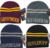 Wholesale MOQ Fashion Harry Potter hat Gryffindor Hufflepuff Slytherin Knit hat cap Cosplay Costume hat Gift Warm Stripe Gryffindor hat cap