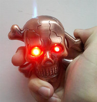 Wholesale Novelty Skull Metal Lighter Creative Gift Funny Cigarette Windproof Lighter With Music Flash Eyes Valentine s Day Christmas Gift