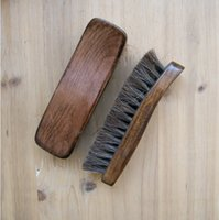 Wholesale Pieces Wooden Boat Brushes Bristle Horse Hair Shoe Polish Applicator Polish Dauber Boot Buffing