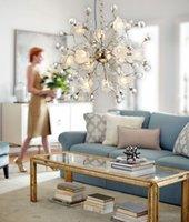 Wholesale 51CM CM European Luxury Creative flower Dandelion LED Crystal Chandeliers Modern Minimalist K9 Crystal Pendant Light Room Lights