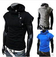 Wholesale 2014 new explosion models Hoodies Sweatshirts Men s Korean version of Slim short sleeved sweater fashion white male spring Coat