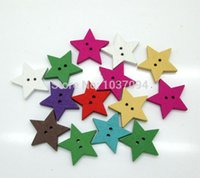 Cheap New Style! 100Pcs Multicolor Star Shape 2 Holes Wooden Buttons Sewing Accessories Kawaii Cabochons Scrapbooking Diy Wood Crafts