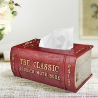 antique leather books - Hot selling fashion rustic antique resin faux leather books tissue box tissue pumping prontpage tube
