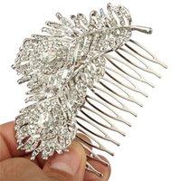 al por mayor placas de pavo real-Plumas Nuevo Retro Cristal Peacock peine del pelo joyas de moda nupcial de la boda plateada plata para las mujeres Accesorios para el cabello