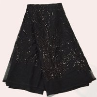 Wholesale Reasonable price black net lace with sequins French Lace Fabric FN7 African embroidery orangza cloth for dress