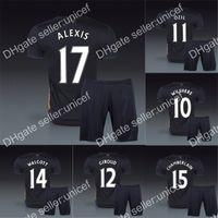 Wholesale English Premier League rd away black Jersey and short soccer uniforms Ozil alexis ramsey walcott cazorla wilshere podolski giroud rosicky