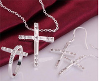 Wholesale 2015 New Design Silver Cross Pendant Necklace Earrings Rings Fashion Jewelry Set with Zircon