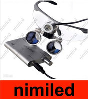 Cheap Free shipping Hot selling LED HeadLight Lamp+ Dental Surgical Medical Binocular  Magnifier Loupes Silvery color for Dentist HSA1875