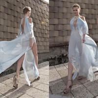 Cheap Galia Lahav Flowing Evening Dresses Halter Neckline 3 4 Long Sleeves Dresses Party Evening With Split Side Chiffon Long Prom Dress Hot Sale