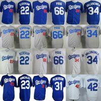 Wholesale 22 Clayton Kershaw Yasiel Puig Adrian Gonzalez Fernando Valenzuela Jackie Robinson Pederson Los Angeles Dodgers cheap men sport jerseys