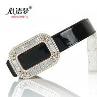 big rv - RV big rhinestone square buckle belt leather belt Ms thin leather dress sub decorative wide waist belt