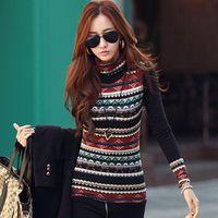 basic sweaters - New Korean Fashion Women Sweater Dress T shirt Retro Print Turtle Neck Long Sleeve Thickened Basic Shirt Tops XXXL Plus Size G0948