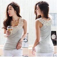 Wholesale Women Summer Sexy Lace Tank Top Casual Camisole Sleeveless Patchwork Vest Waistcoat Q15026 Bodycon