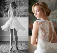 Reference Images hot pink shirts - Lace short wedding Dresses for beach wedding Knee Length White Dress O Neck Hollow Backless Beautiful Bridal Gowns Hot Sale Free Shippi