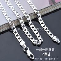 al por mayor collares de plata esterlina al por mayor barato-X83 barato al por mayor de plata de ley 925 collar de cadena de plata 4 mm 16-24inches joyería de moda de los hombres de calidad superior