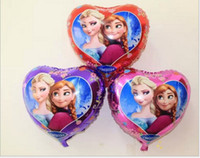 Wholesale Frozen Anna Elsa inch x45cm balloon for birthday party Princess Heart shaped Aluminum foil cartoon helium balloons