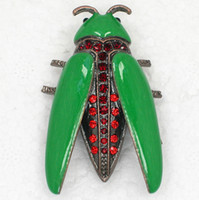 Other antique c - Trendy jewelry gift Red Crystal Rhinestone Enamel Antique Copper Plated Insect Bug Pin Brooch Alloy Jewelry C555 C
