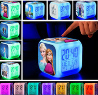 Wholesale Retail Frozen Digital Alarm Clock LED Colors Change Digital Alarm Clock Anna Elsa Thermometer Night Colorful Glowing Clock