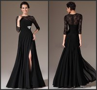 Wholesale 2015 Sexy Black Long Mother Of The Bride Dresses Jewel A Line Lace Zipper Long Sleeve Floor Length Side Slit Beads Formal Evening Dress