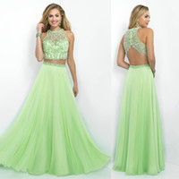 Wholesale Apple green beaded chiffon a line jewel neck long two pieces prom dresses zipper back