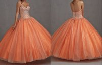 Wholesale Hot Sale Silver Sequins Quinceanera Dresses Backless Zipper Tulle Sweet Orange Pretty Party Prom Dresses Pure Sparkling Elegant Gowns HL609