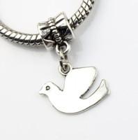 achat en gros de grands charmes de la paix-100pcs / lot tibétain argent Peace Dove Flying alliage métal gros perles de trou Fit européenne charme Bracelets Bijoux DIY B173 23.8x13.8mm