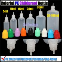 Wholesale E cig Childproof drop PE bottles needle bottle with childproof caps ml ml ml ml ml ml ml empty bottles for E liuid e juice