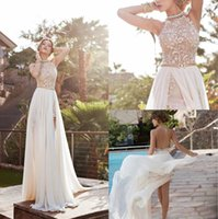 apple brooch - 2015 Lace Applique Chiffon Prom Dresses Halter Beaded Crystals Short Side Slit Backless Evening Gowns Summer Beach Wedding Dresses BO5557