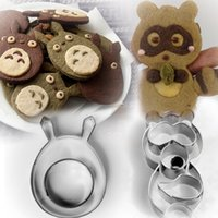 3 animal breads - 3D Fox Totoro Animal Stainless Steel Cookie Cutters Sushi Die Cake Fruit Vegetable Cartoon Metal Mold bread Mould
