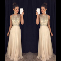 Wholesale 2016 Cheap Custom Made Bridesmaid Dresses Beads Long Evening Dresses Crytral Jewel Chiffon Floor Length Wedding Party Dresses Prom Dresses