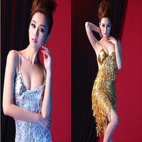 Wholesale Bling Bling sequins dress harness dress sequin dress Latin dance nightclub singers costumes