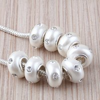 flower polymer clay beads - 20pcs Clear Rhinestone Crystal White Polymer Clay Rondelle Loose Spacer Big Hole Charms Beads For European Bracelet Making