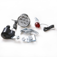 Wholesale Bicycle Motorized Bike Friction generator Dynamo Head Tail Light Kit Part