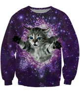 Cheap Wholesale-women men 3d Kitty Glitter Crewneck Sweatshirt fuzzy cat galaxy sweatshirts sexy crewneck sweats pullover tops hoodies jumper