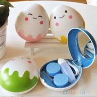 Wholesale Cute Egg Design Travel Contact Lens Case Box Set Cleaning Holder Soak Storage SNO