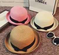 Wholesale Fashion New Vintage Women Summer Straw Bowler Hat Sun Beach Fedora Derby Style Cloche Cap Mix Color