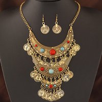 Wholesale Fashion African Costume Jewelry Set Statement Jewelry sets Coins Necklace Set For Women Turquoise Stone One Direction Collares