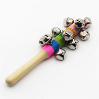 Wholesale Hot Selling x2cm Baby Kid Children Rainbow Pram Crib Handle Wooden Bell Stick Shaker Rattle Toy Xmas Gift