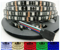 Wholesale RGB SMD PCB black leds m DC V waterproof IP65 led fexible strip light leds cm soft led tape M