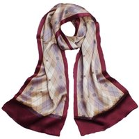 bandanas and scarves - 100 Mulberry Silk cc Scaves for men s bandanas Wine Red new fashion business long Turkish Style satin Plaid Print Silk Shawls and Pashminas