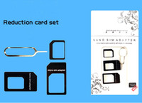Wholesale 4 In Nano Micro SIM Adapter Eject Pin For Iphone S With SIM Card have Retail Box High Quality