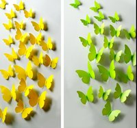 Wholesale 72 Piece Color Green Yellow Simulation Butterflies Fridge Magnets Wall Stickers Wedding Home Decoration