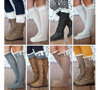 Wholesale new crochet lace trim cotton knit leg warmers boot Womem Long Cotton Socks Knee High Long Socks leg warmer stocking in stock