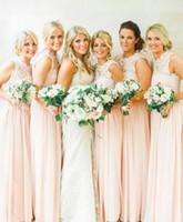 2016 la nueva manera Crew Neck largos vestidos de damas de honor junior Prom Vestidos de novia de encaje Top Una línea de gasa sin mangas de la falda de la dama de honor de los vestidos barato