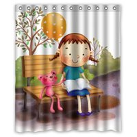 balloon screen printing - High Quality Modern Design Polyester Bath Screen Print Cute Girl Balloon Shower Curtain Waterproof For Kid quot x quot With Hooks