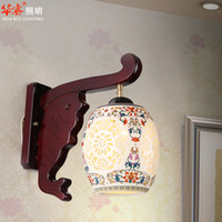 antique courting - antique engrave fish wall lamp ceramics Chinese royal court style mural wall sconces restaurant living room bedroom tea room