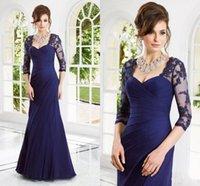 Wholesale Hot Sale long sleeve mother of the bride dresses lace appliques sequins sheath formal evening dresses chiffon floor length vestido WC121