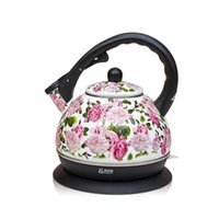 auto tea maker - Enamel Whistling Tea Maker Pot Tea Kettle Enamels French Flower Style Safety Auto Off Pot Uderpan Heating order lt no track